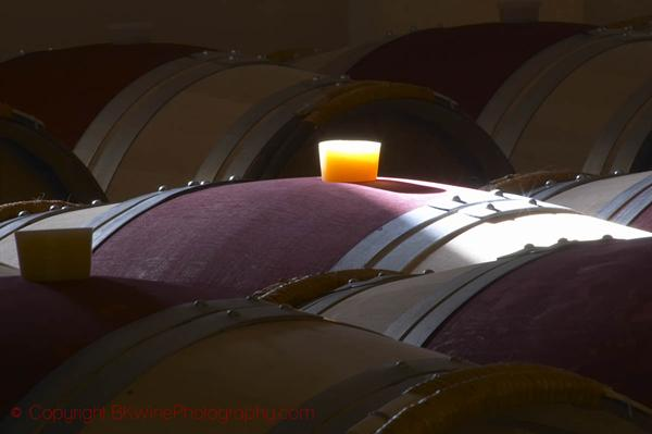 Oak barrel aging and fermentation cellar