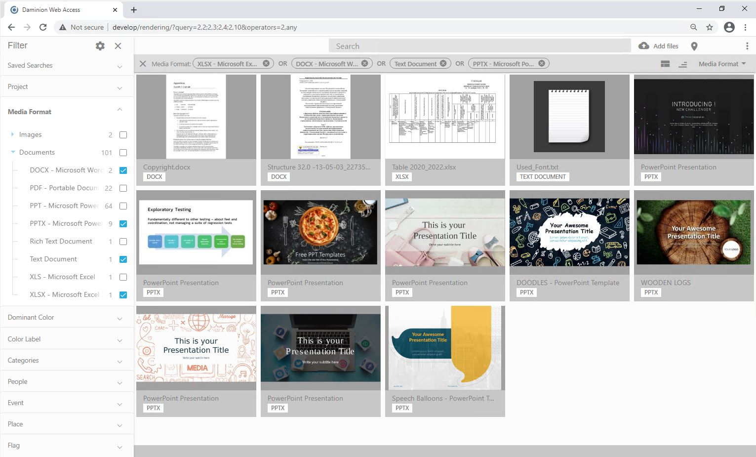 Daminion DAM displays visual previews for PDF and office documents (PPTX, DOCX)