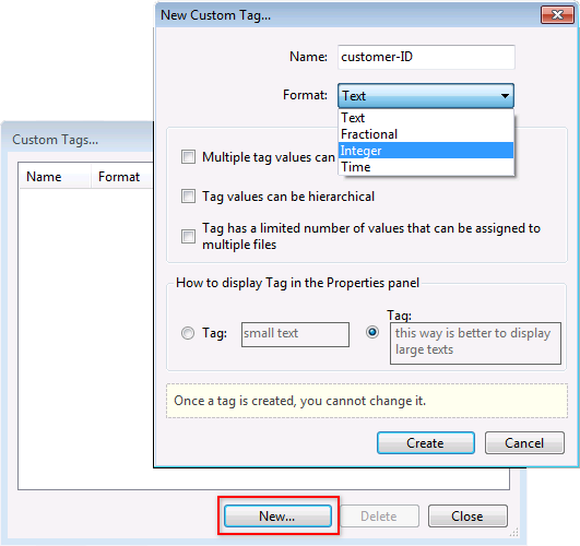 "Click on the ""Create"" button to create and adjust a new custom tag"