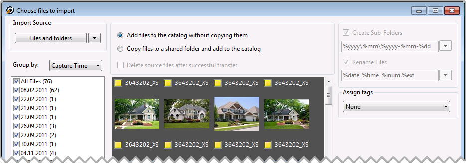 Add Files to Catalog Without Copying them