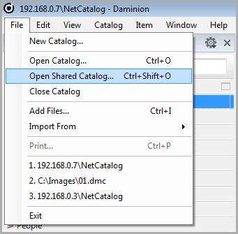 Open Shared Catalog window