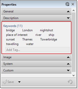 The keyword list in the Properties Panel