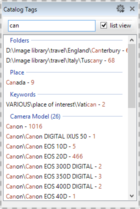 """The """"Filter Tags"""" list in the Catalog Tags Panel"""