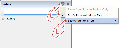 Select additional tag in the Folders Panel