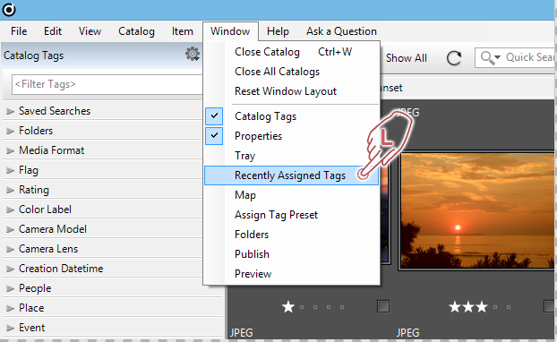 """Opening the """"Recently Assigned Tags"""" dialog"""
