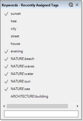 """The """"Recently Assigned Tags"""" dialog"""