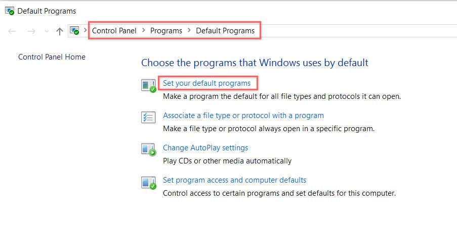 Set Default Programs panel
